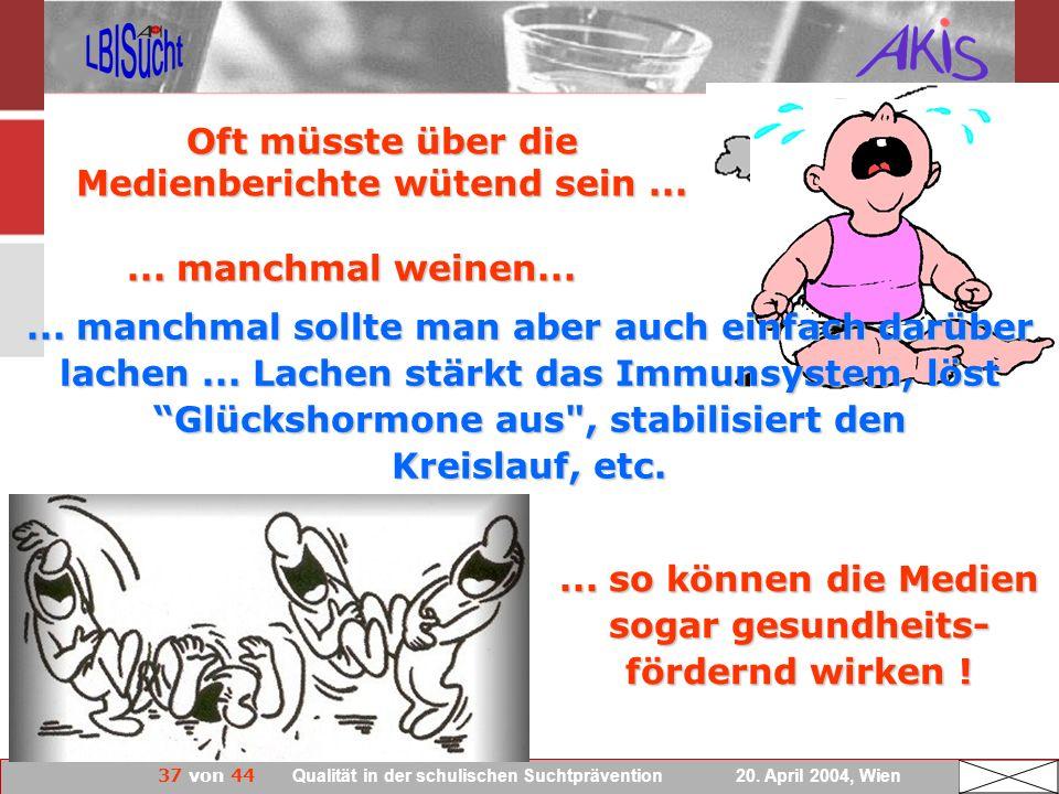 37 von 44 Qualität in der schulischen Suchtprävention 20. April 2004, Wien Oft müsste über die Medienberichte wütend sein...... manchmal weinen......