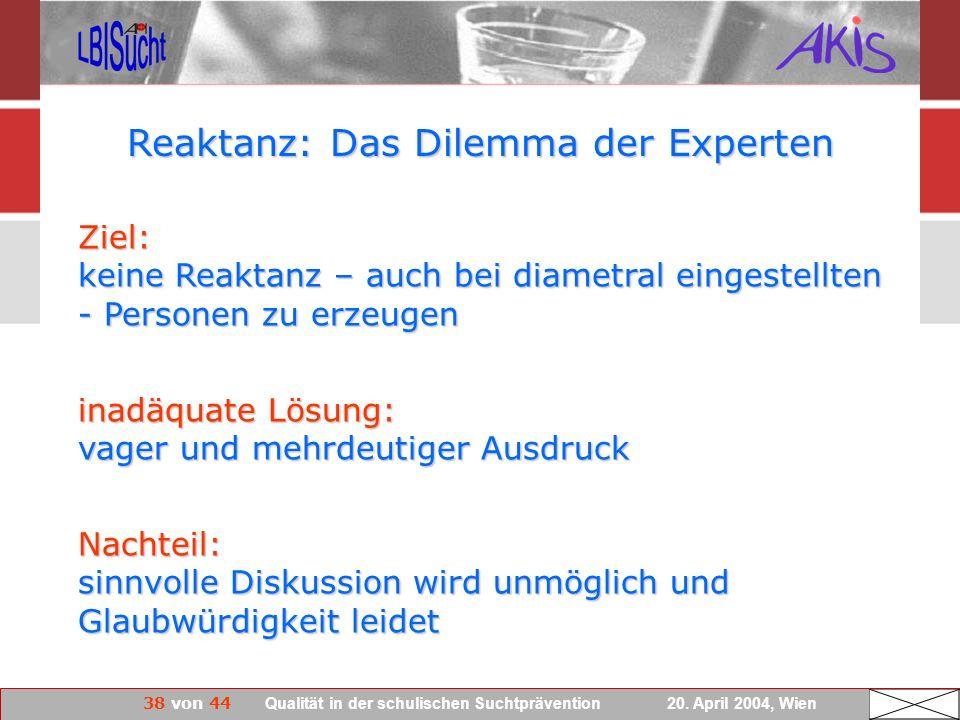 38 von 44 Qualität in der schulischen Suchtprävention 20. April 2004, Wien Reaktanz: Das Dilemma der Experten Ziel: keine Reaktanz – auch bei diametra
