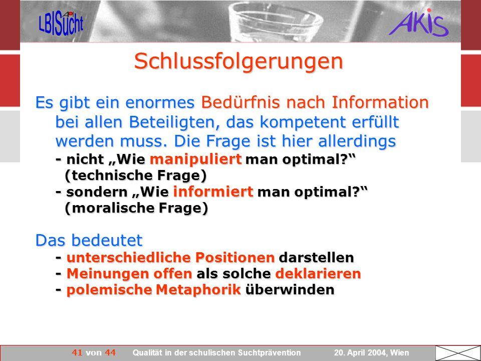 41 von 44 Qualität in der schulischen Suchtprävention 20. April 2004, Wien Es gibt ein enormes Bedürfnis nach Information bei allen Beteiligten, das k