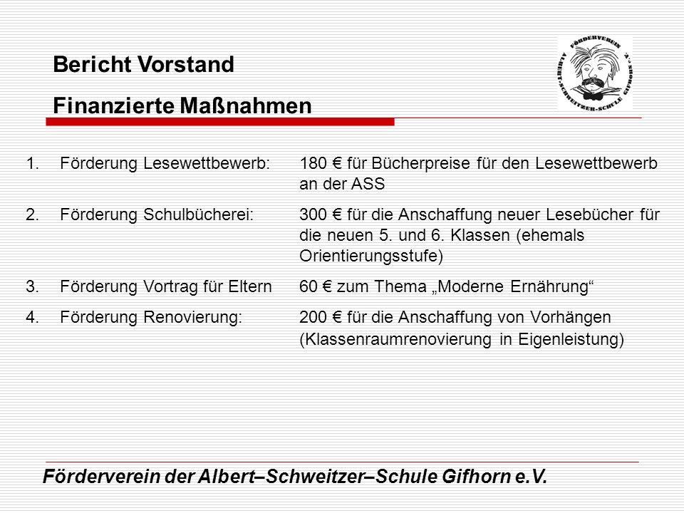 Förderverein der Albert–Schweitzer–Schule Gifhorn e.V. Bericht Vorstand Finanzierte Maßnahmen 1.Förderung Lesewettbewerb:180 für Bücherpreise für den
