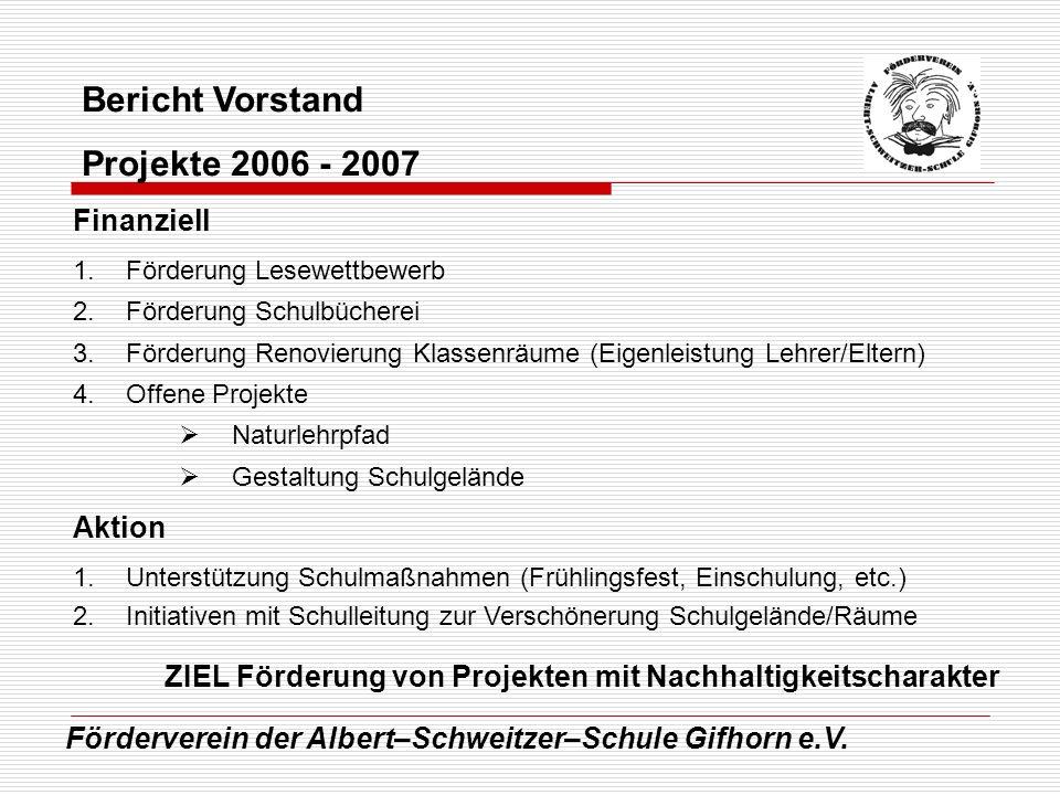 Förderverein der Albert–Schweitzer–Schule Gifhorn e.V. Bericht Vorstand Projekte 2006 - 2007 Finanziell 1.Förderung Lesewettbewerb 2.Förderung Schulbü