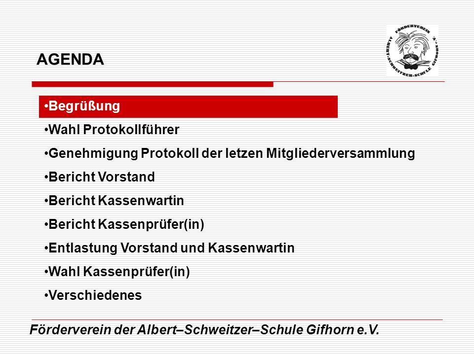 Förderverein der Albert–Schweitzer–Schule Gifhorn e.V. Begrüßung Wahl Protokollführer Genehmigung Protokoll der letzen Mitgliederversammlung Bericht V