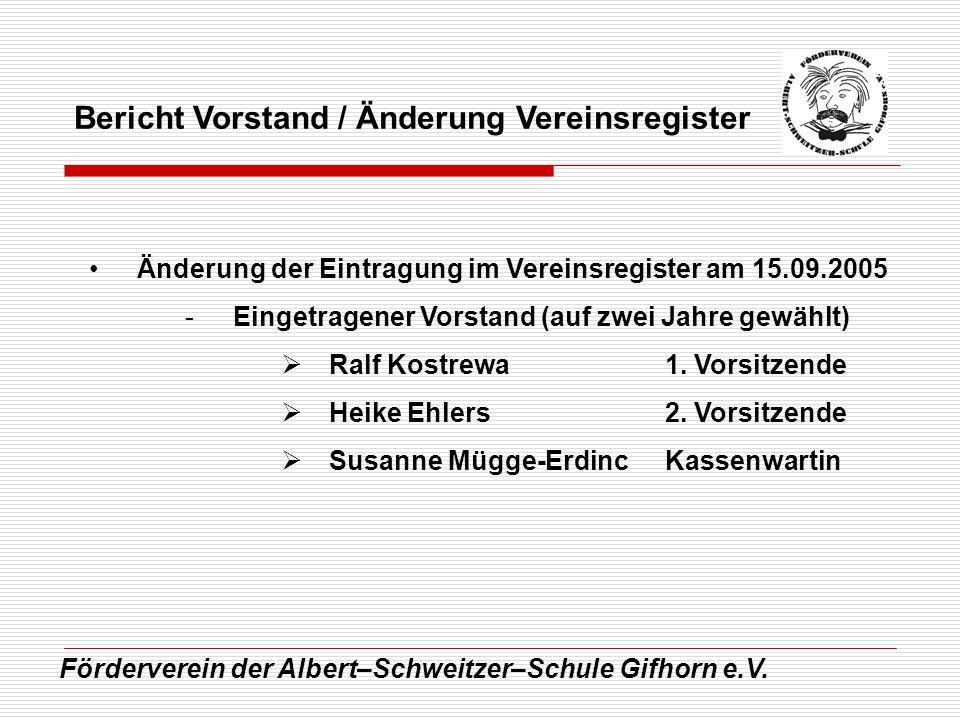 Förderverein der Albert–Schweitzer–Schule Gifhorn e.V. Bericht Vorstand / Änderung Vereinsregister Änderung der Eintragung im Vereinsregister am 15.09