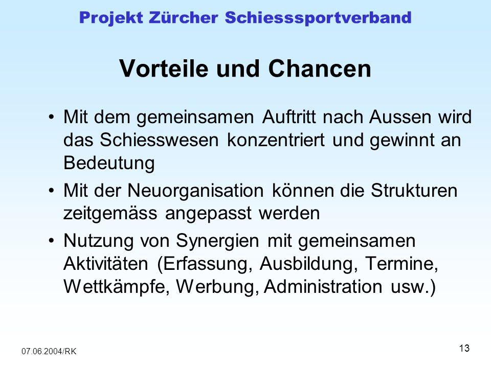 07.06.2004/RK Projekt Zürcher Schiesssportverband 13 Vorteile und Chancen Mit dem gemeinsamen Auftritt nach Aussen wird das Schiesswesen konzentriert