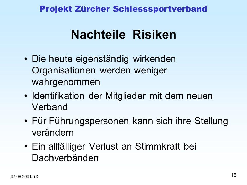 07.06.2004/RK Projekt Zürcher Schiesssportverband 15 Nachteile Risiken Die heute eigenständig wirkenden Organisationen werden weniger wahrgenommen Ide