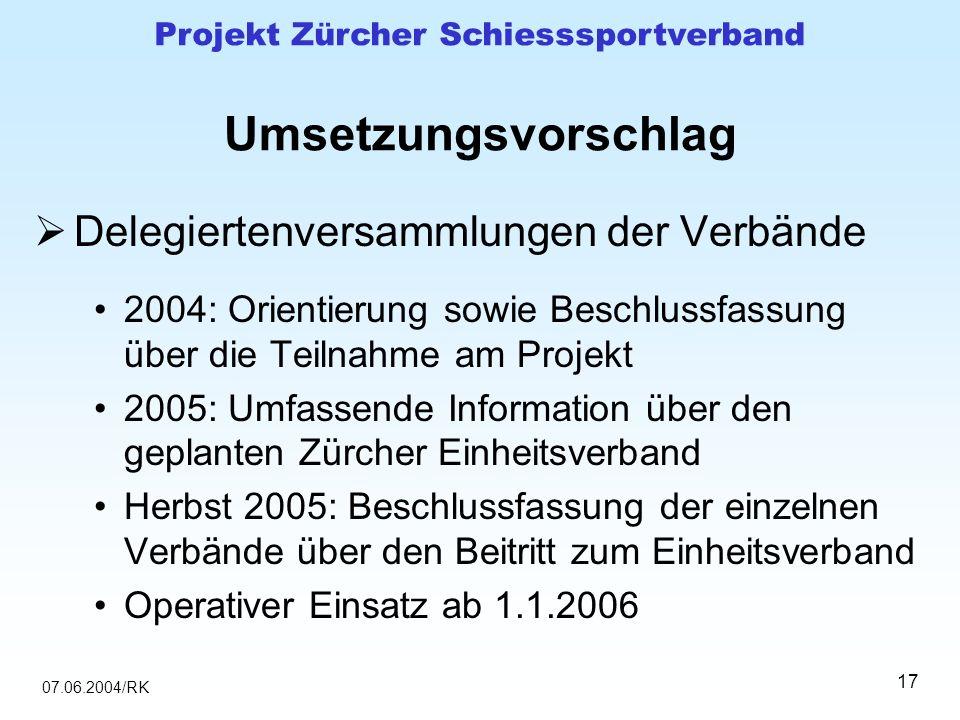 07.06.2004/RK Projekt Zürcher Schiesssportverband 17 Umsetzungsvorschlag Delegiertenversammlungen der Verbände 2004: Orientierung sowie Beschlussfassu