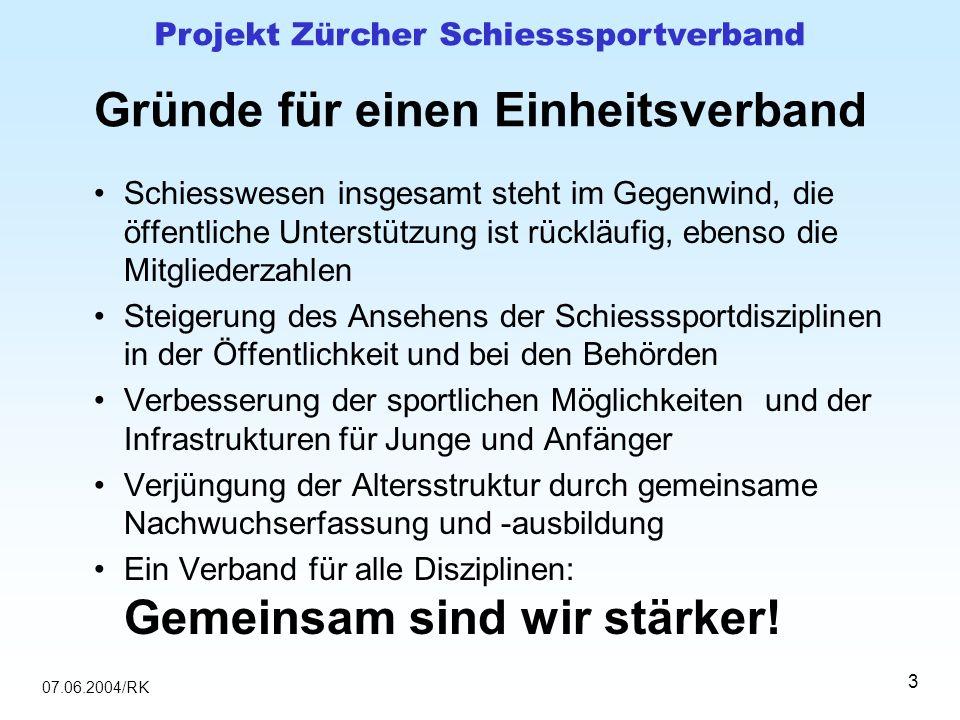 07.06.2004/RK Projekt Zürcher Schiesssportverband 3 Gründe für einen Einheitsverband Schiesswesen insgesamt steht im Gegenwind, die öffentliche Unters
