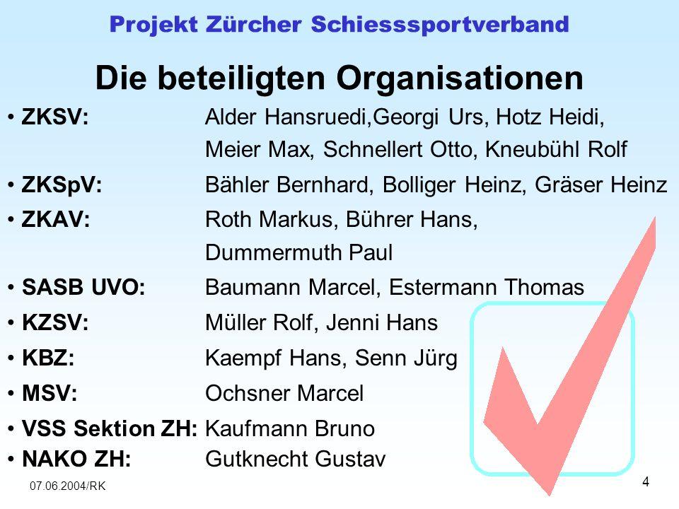 07.06.2004/RK Projekt Zürcher Schiesssportverband 4 Die beteiligten Organisationen ZKSV:Alder Hansruedi,Georgi Urs, Hotz Heidi, Meier Max, Schnellert