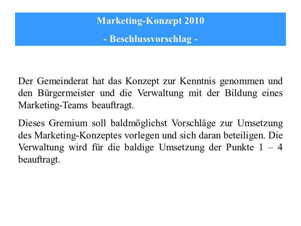 Marketing-Konzept 2010 - Beschlussvorschlag - Der Gemeinderat hat das Konzept zur Kenntnis genommen und den Bürgermeister und die Verwaltung mit der B