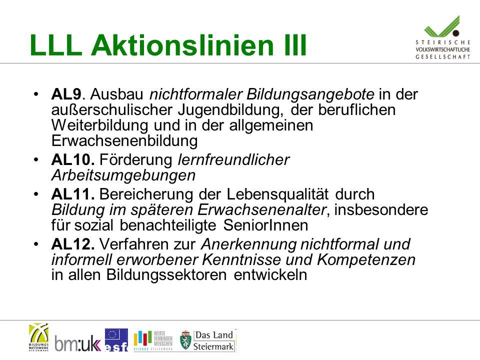 Bezug LLL - EB Alle 5 Strategischen Leitlinien sind zentral relevant für EB 10 von 12 Aktionslinien betreffen EB direkt Strategische Leit- und Aktionslinien sind als Matrix zu sehen, gegenseitiger Bezug LLL - EB