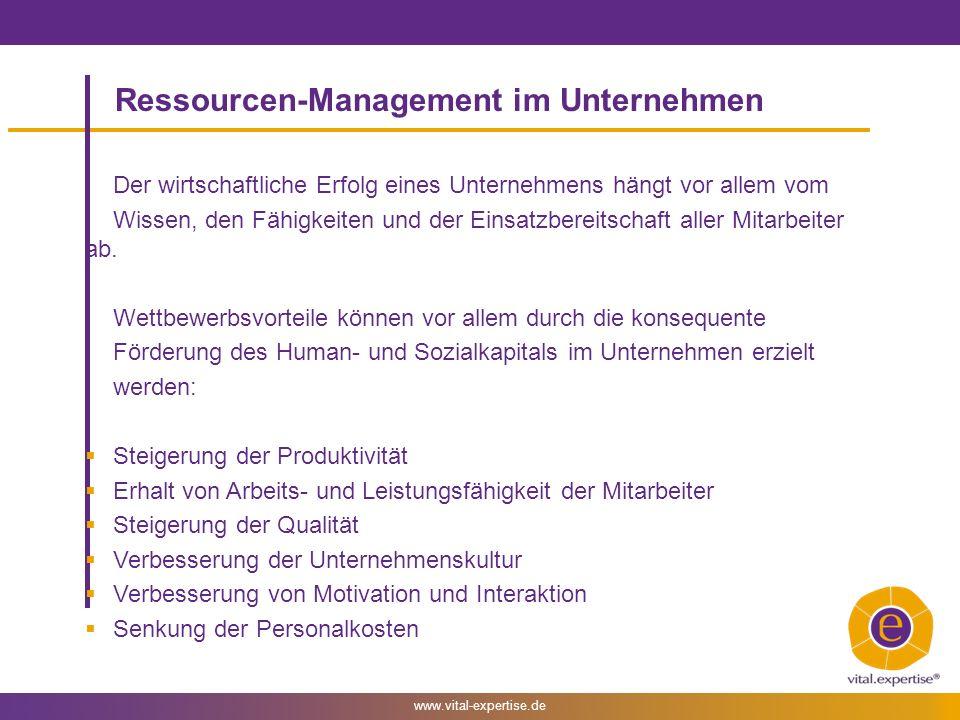 www.vital-expertise.de Ressourcen-Management im Unternehmen Der wirtschaftliche Erfolg eines Unternehmens hängt vor allem vom Wissen, den Fähigkeiten und der Einsatzbereitschaft aller Mitarbeiter ab.