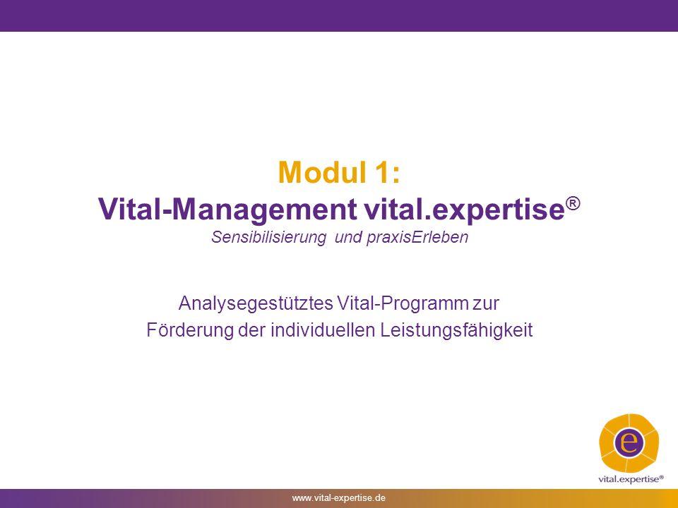 www.vital-expertise.de Modul 1: Vital-Management vital.expertise ® Sensibilisierung und praxisErleben Analysegestütztes Vital-Programm zur Förderung der individuellen Leistungsfähigkeit