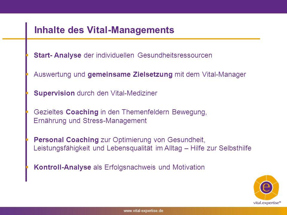 www.vital-expertise.de Ablauf des Vital-Managements Coaching 1.