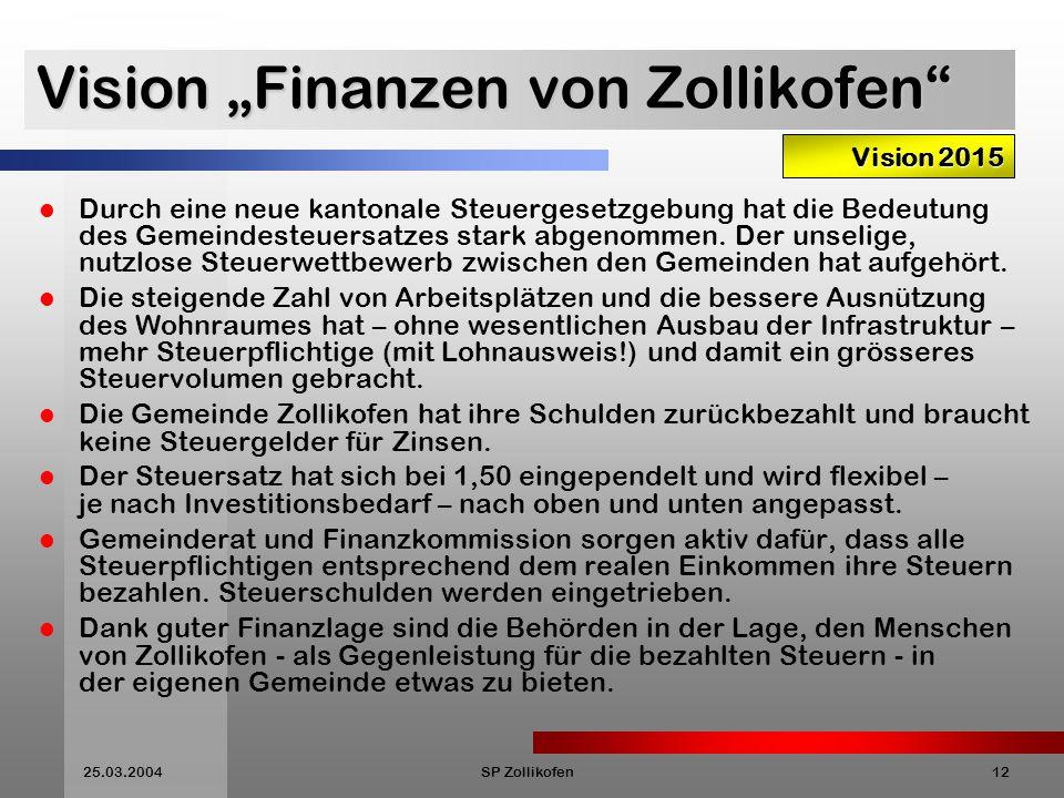 25.03.2004SP Zollikofen12 Vision Finanzen von Zollikofen Durch eine neue kantonale Steuergesetzgebung hat die Bedeutung des Gemeindesteuersatzes stark abgenommen.