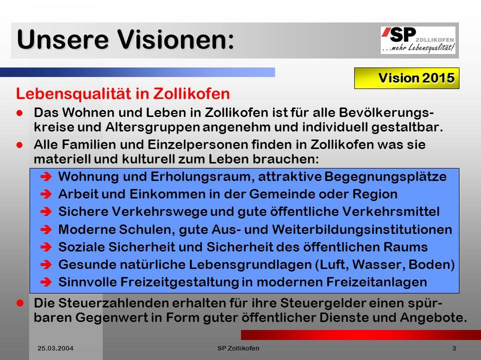 25.03.2004SP Zollikofen3 Unsere Visionen: Vision 2015 Lebensqualität in Zollikofen Das Wohnen und Leben in Zollikofen ist für alle Bevölkerungs- kreise und Altersgruppen angenehm und individuell gestaltbar.