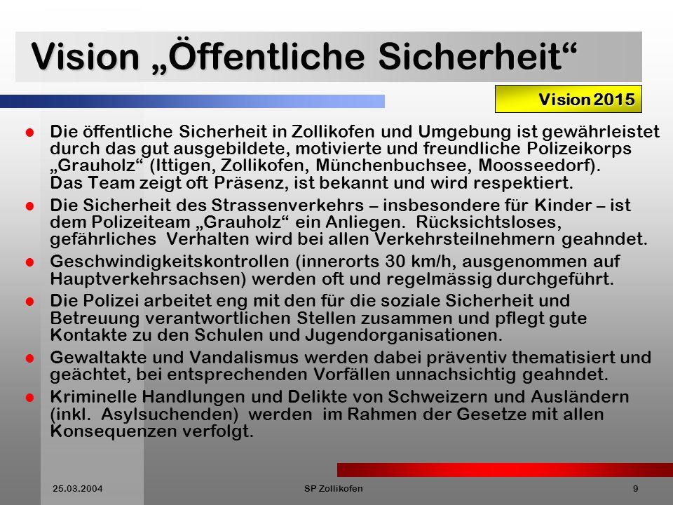 25.03.2004SP Zollikofen10 Vision Gesunde Umwelt Die Gemeinde sorgt für intakte und gesunde natürliche Lebensgrundlagen.