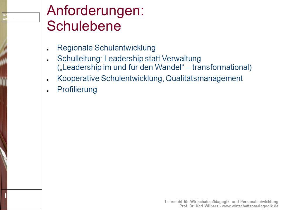 Lehrstuhl für Wirtschaftspädagogik und Personalentwicklung Prof. Dr. Karl Wilbers - www.wirtschaftspaedagogik.de Anforderungen: Schulebene Regionale S
