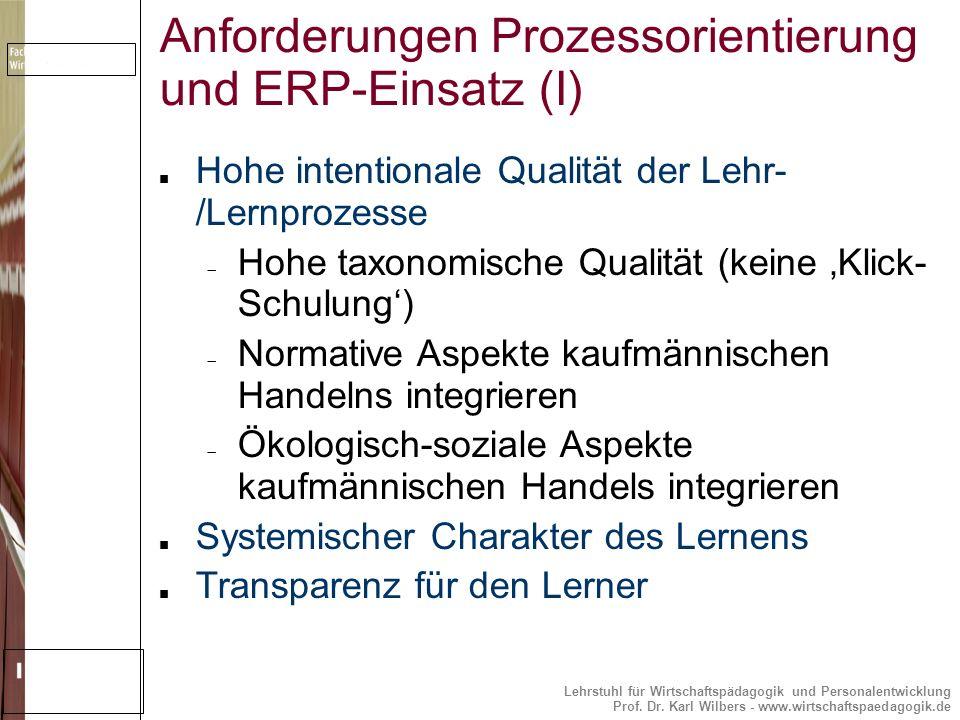 Lehrstuhl für Wirtschaftspädagogik und Personalentwicklung Prof. Dr. Karl Wilbers - www.wirtschaftspaedagogik.de Anforderungen Prozessorientierung und