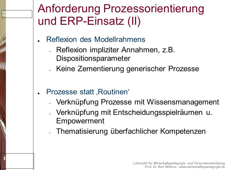 Lehrstuhl für Wirtschaftspädagogik und Personalentwicklung Prof. Dr. Karl Wilbers - www.wirtschaftspaedagogik.de Anforderung Prozessorientierung und E