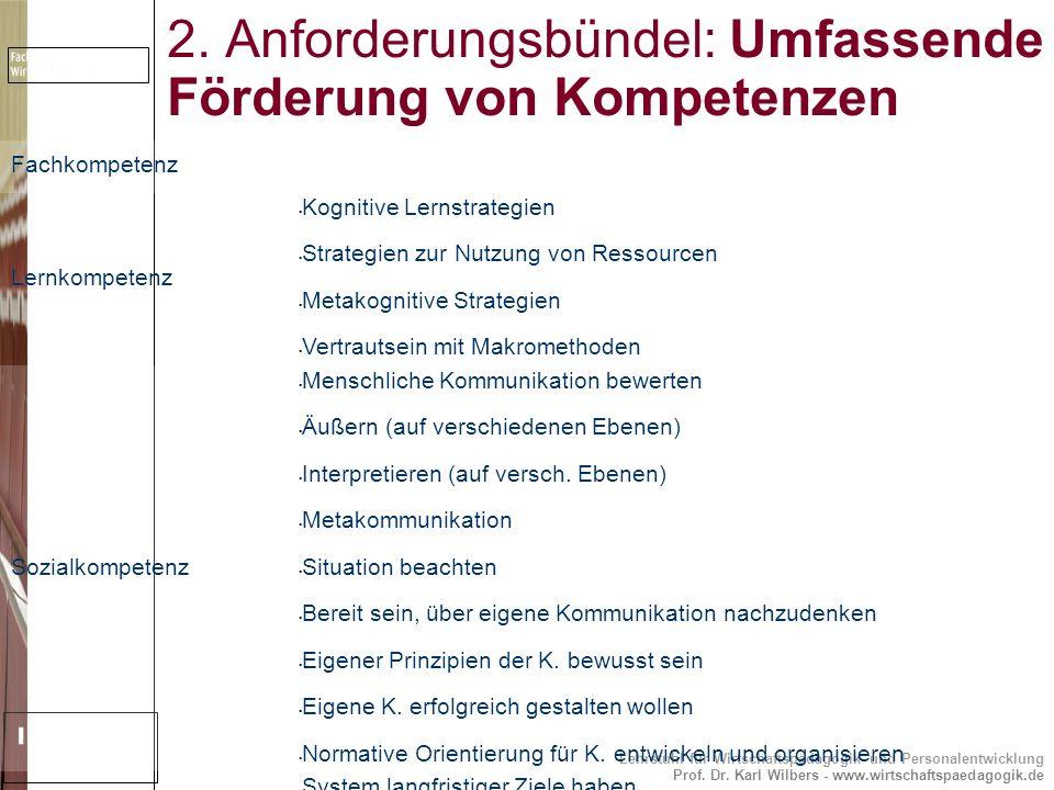 Lehrstuhl für Wirtschaftspädagogik und Personalentwicklung Prof. Dr. Karl Wilbers - www.wirtschaftspaedagogik.de 2. Anforderungsbündel: Umfassende För