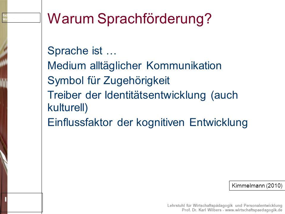 Lehrstuhl für Wirtschaftspädagogik und Personalentwicklung Prof. Dr. Karl Wilbers - www.wirtschaftspaedagogik.de Warum Sprachförderung? Sprache ist …