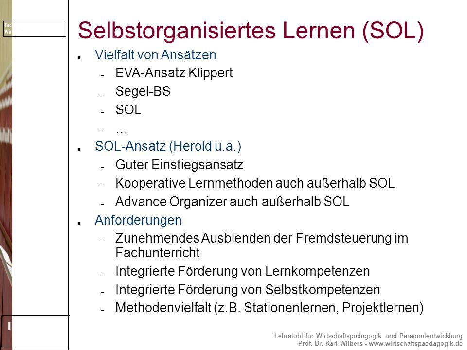Lehrstuhl für Wirtschaftspädagogik und Personalentwicklung Prof. Dr. Karl Wilbers - www.wirtschaftspaedagogik.de Selbstorganisiertes Lernen (SOL) Viel