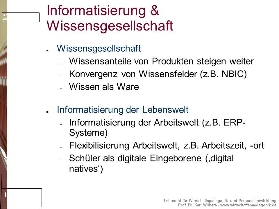Lehrstuhl für Wirtschaftspädagogik und Personalentwicklung Prof. Dr. Karl Wilbers - www.wirtschaftspaedagogik.de Informatisierung & Wissensgesellschaf