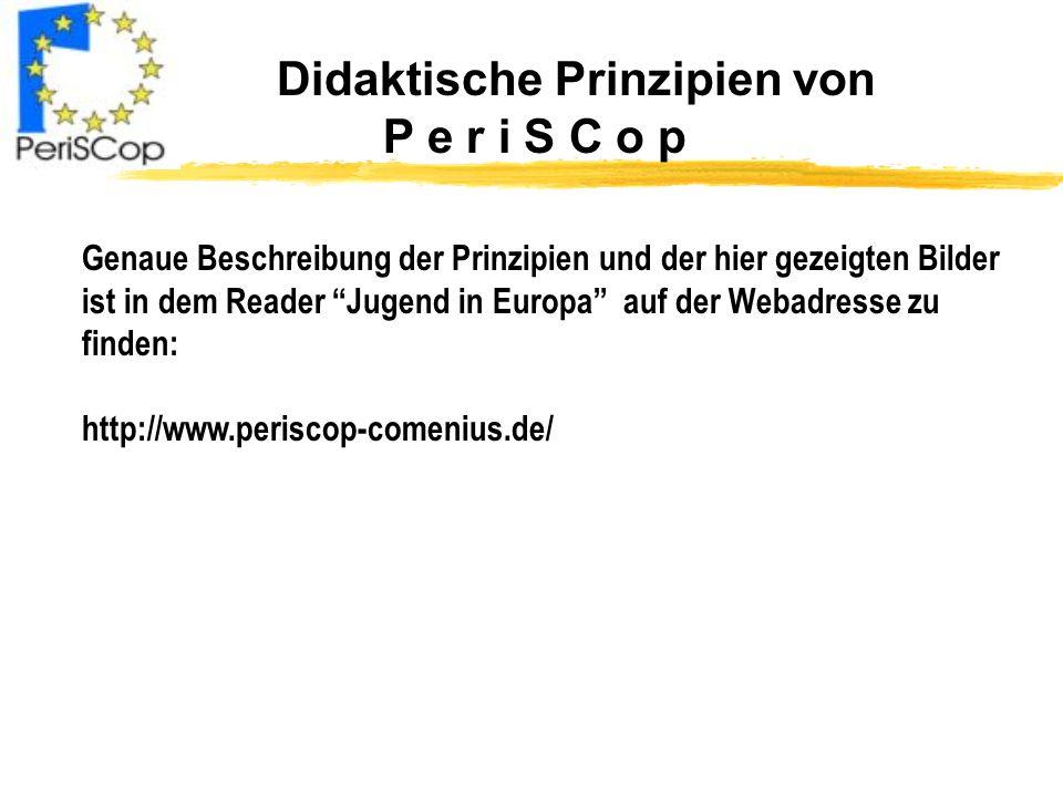 Didaktische Prinzipien von P e r i S C o p Genaue Beschreibung der Prinzipien und der hier gezeigten Bilder ist in dem Reader Jugend in Europa auf der