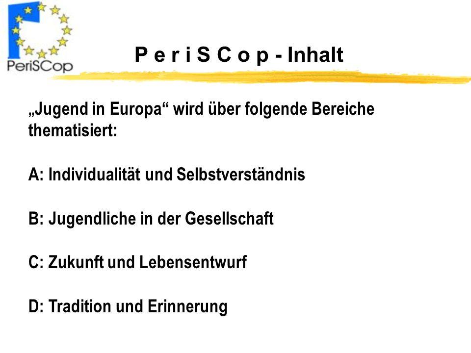 P e r i S C o p - Inhalt Jugend in Europa wird über folgende Bereiche thematisiert: A: Individualität und Selbstverständnis B: Jugendliche in der Gese