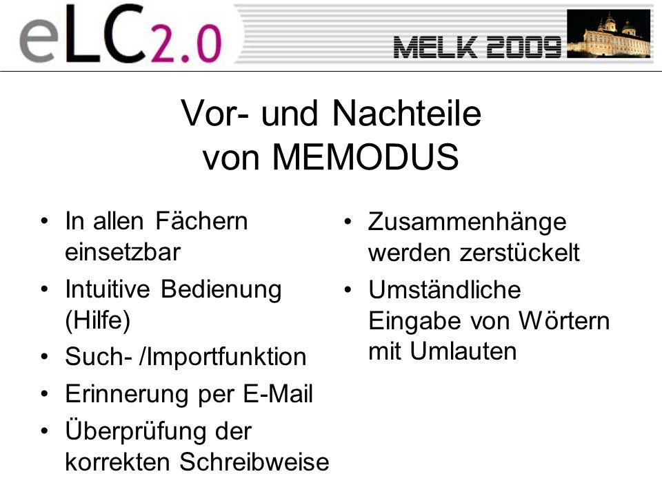 Vor- und Nachteile von MEMODUS In allen Fächern einsetzbar Intuitive Bedienung (Hilfe) Such- /Importfunktion Erinnerung per E-Mail Überprüfung der korrekten Schreibweise Zusammenhänge werden zerstückelt Umständliche Eingabe von Wörtern mit Umlauten