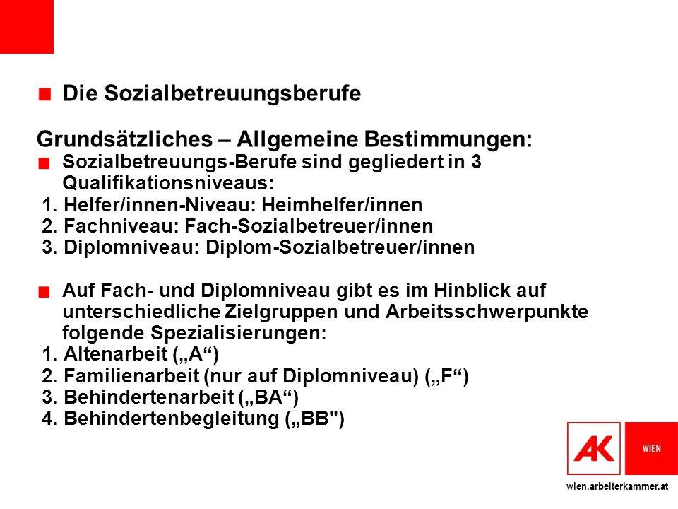 wien.arbeiterkammer.at Die Sozialbetreuungsberufe Grundsätzliches – Allgemeine Bestimmungen: Sozialbetreuungs-Berufe sind gegliedert in 3 Qualifikationsniveaus: 1.