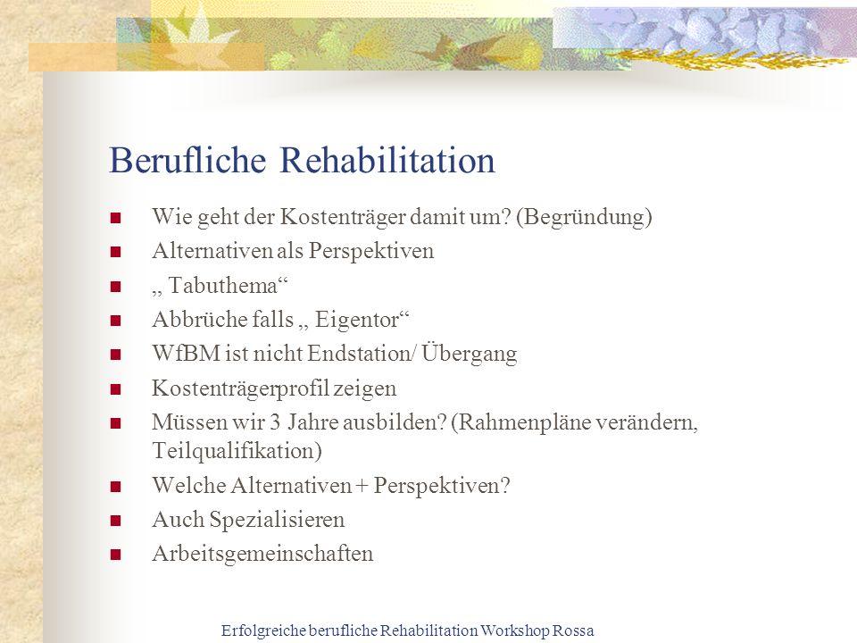 Berufliche Rehabilitation Wie geht der Kostenträger damit um? (Begründung) Alternativen als Perspektiven Tabuthema Abbrüche falls Eigentor WfBM ist ni