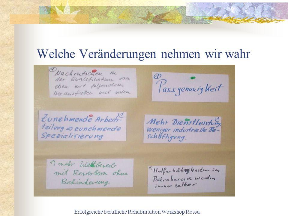 Erfolgreiche berufliche Rehabilitation Workshop Rossa Welche Veränderungen nehmen wir wahr