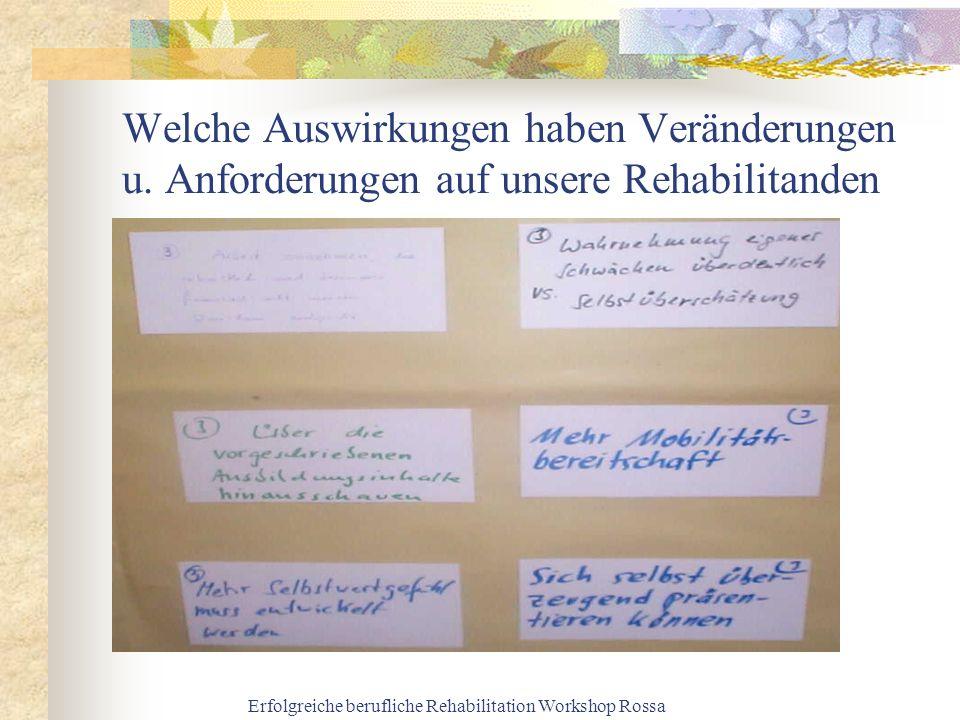 Erfolgreiche berufliche Rehabilitation Workshop Rossa Welche Auswirkungen haben Veränderungen u. Anforderungen auf unsere Rehabilitanden
