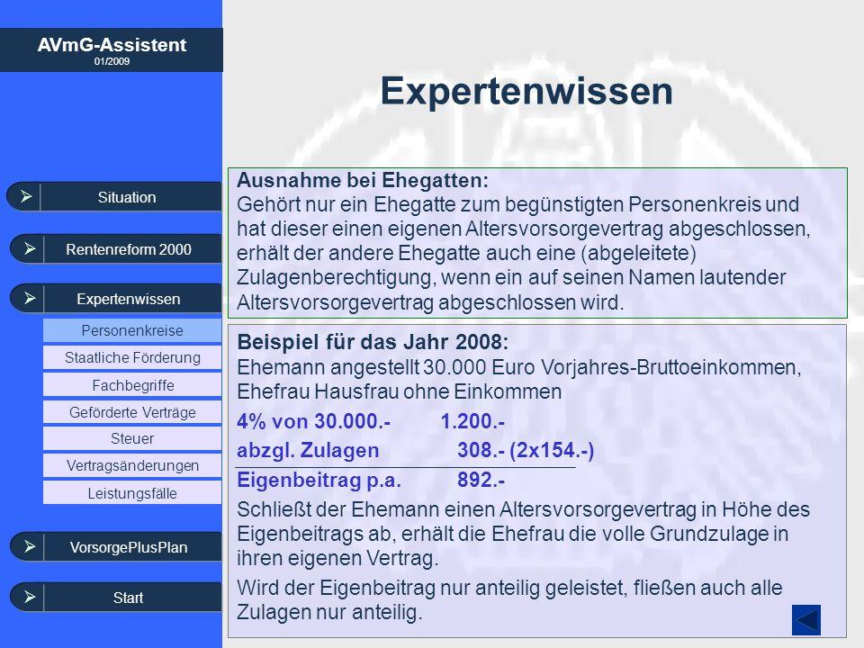 AVmG-Assistent 01/2009 Expertenwissen Beispiel für das Jahr 2008: Ehemann angestellt 30.000 Euro Vorjahres-Bruttoeinkommen, Ehefrau Hausfrau ohne Eink