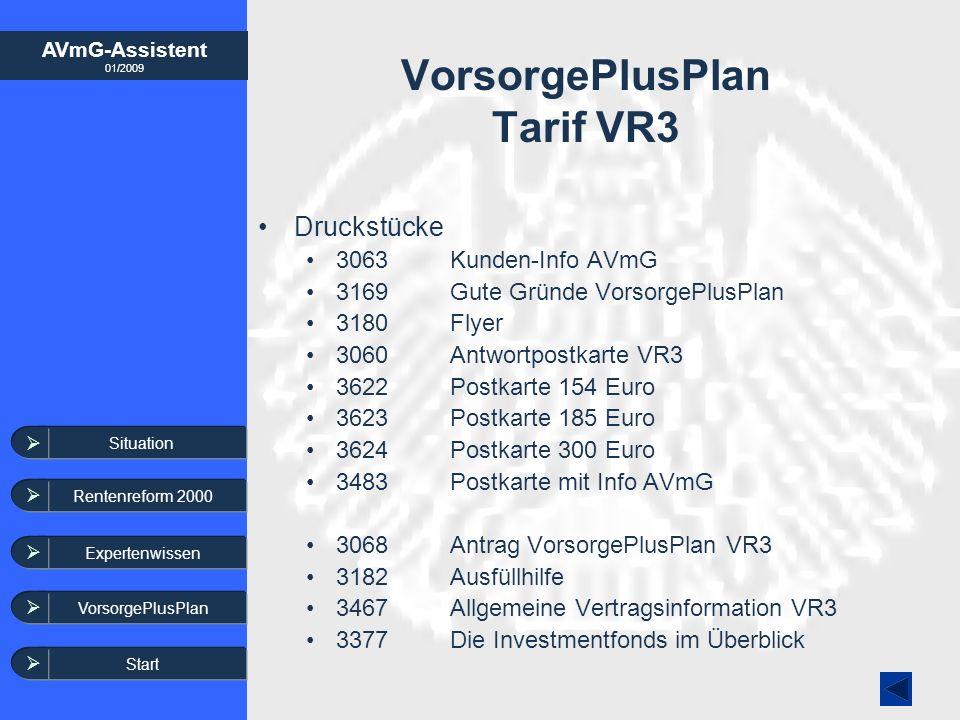 AVmG-Assistent 01/2009 Expertenwissen VorsorgePlusPlan VorsorgePlusPlan Tarif VR3 Situation Rentenreform 2000 Druckstücke 3063Kunden-Info AVmG 3169Gut