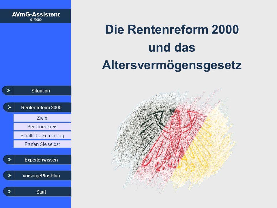 AVmG-Assistent 01/2009 Situation Rentenreform 2000 Ziele Staatliche Förderung Personenkreis Die Rentenreform 2000 und das Altersvermögensgesetz Expert