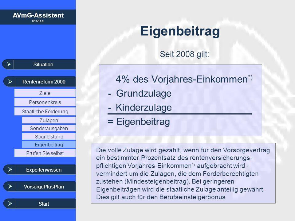 AVmG-Assistent 01/2009 4% des Vorjahres-Einkommen *) - Grundzulage - Kinderzulage = Eigenbeitrag Die volle Zulage wird gezahlt, wenn für den Vorsorgev