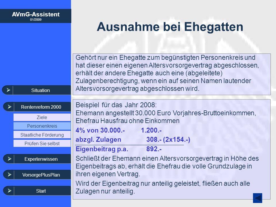 AVmG-Assistent 01/2009 Situation Rentenreform 2000 Ziele Staatliche Förderung Personenkreis Expertenwissen VorsorgePlusPlan Prüfen Sie selbst Ausnahme
