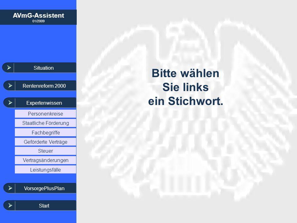 AVmG-Assistent 01/2009 Bitte wählen Sie links ein Stichwort. Situation Rentenreform 2000 Expertenwissen Steuer Leistungsfälle Vertragsänderungen Geför