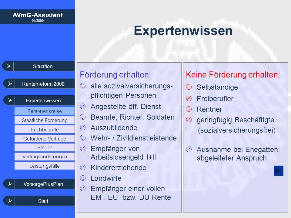 AVmG-Assistent 01/2009 Keine Förderung erhalten: Selbständige Freiberufler Rentner geringfügig Beschäftigte (sozialversicherungsfrei) Ausnahme bei Ehe
