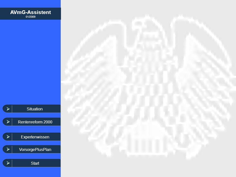 AVmG-Assistent 01/2009 Situation Rentenreform 2000 Expertenwissen Start VorsorgePlusPlan