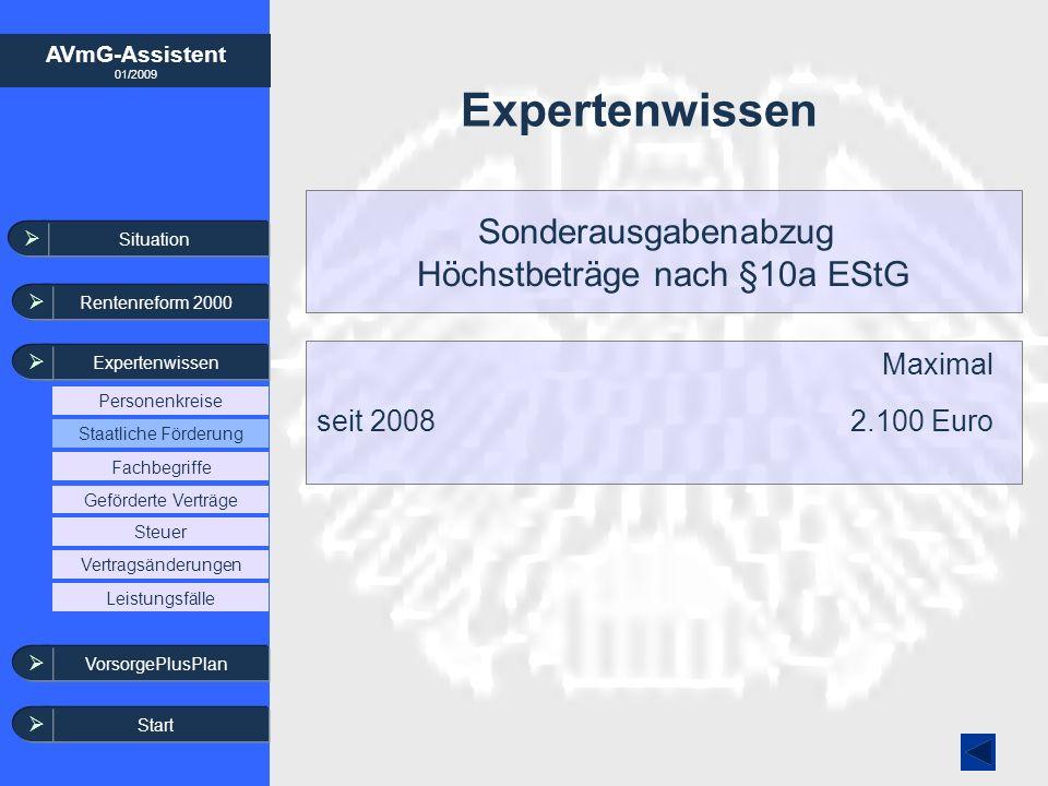 AVmG-Assistent 01/2009 Expertenwissen Sonderausgabenabzug Höchstbeträge nach §10a EStG Maximal seit 20082.100 Euro Situation Rentenreform 2000 Experte