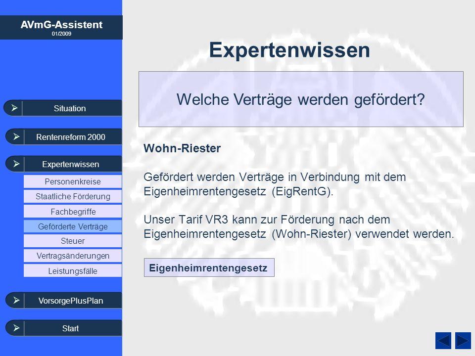 AVmG-Assistent 01/2009 Expertenwissen Welche Verträge werden gefördert? Wohn-Riester Gefördert werden Verträge in Verbindung mit dem Eigenheimrentenge
