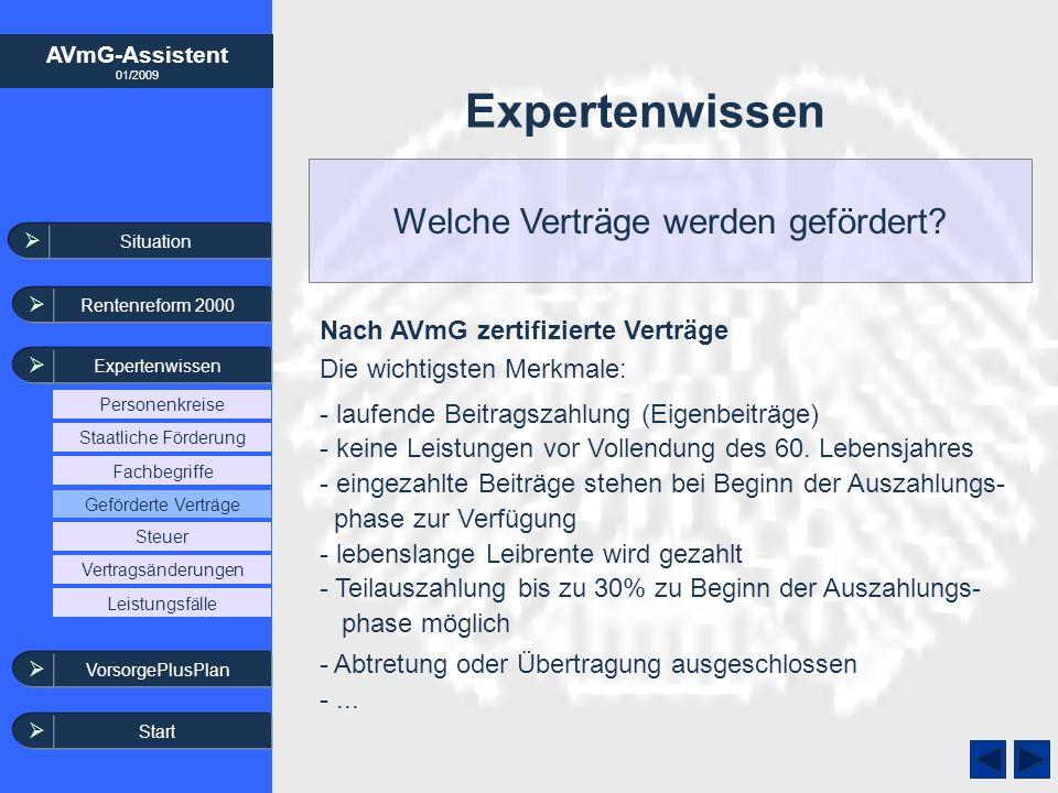 AVmG-Assistent 01/2009 Welche Verträge werden gefördert? Expertenwissen Situation Rentenreform 2000 Expertenwissen VorsorgePlusPlan Steuer Leistungsfä