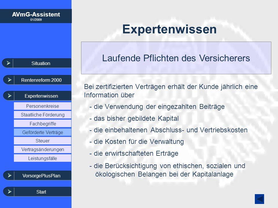AVmG-Assistent 01/2009 Bei zertifizierten Verträgen erhält der Kunde jährlich eine Information über - die Verwendung der eingezahlten Beiträge - das b