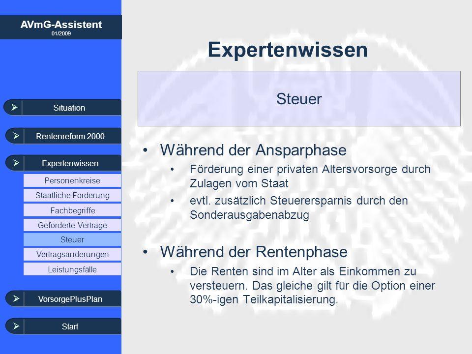 AVmG-Assistent 01/2009 Expertenwissen Während der Ansparphase Förderung einer privaten Altersvorsorge durch Zulagen vom Staat evtl. zusätzlich Steuere