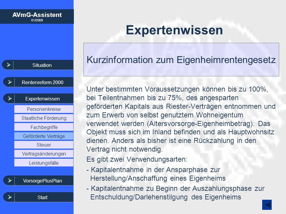 AVmG-Assistent 01/2009 Expertenwissen Kurzinformation zum Eigenheimrentengesetz Unter bestimmten Voraussetzungen können bis zu 100%, bei Teilentnahmen