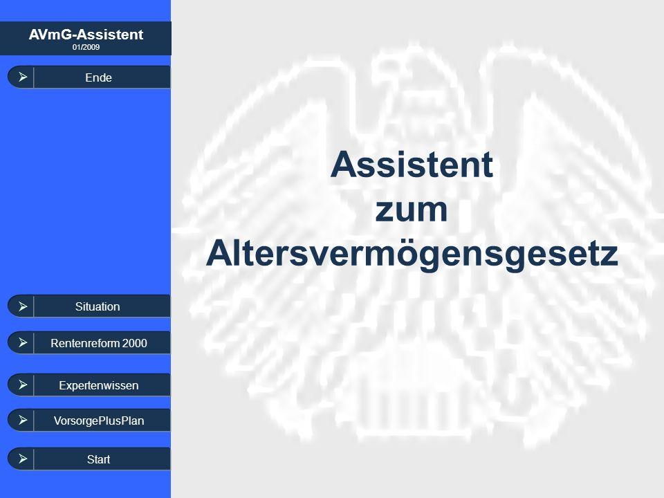 AVmG-Assistent 01/2009 Expertenwissen Assistent zum Altersvermögensgesetz Ende Start VorsorgePlusPlan Situation Rentenreform 2000