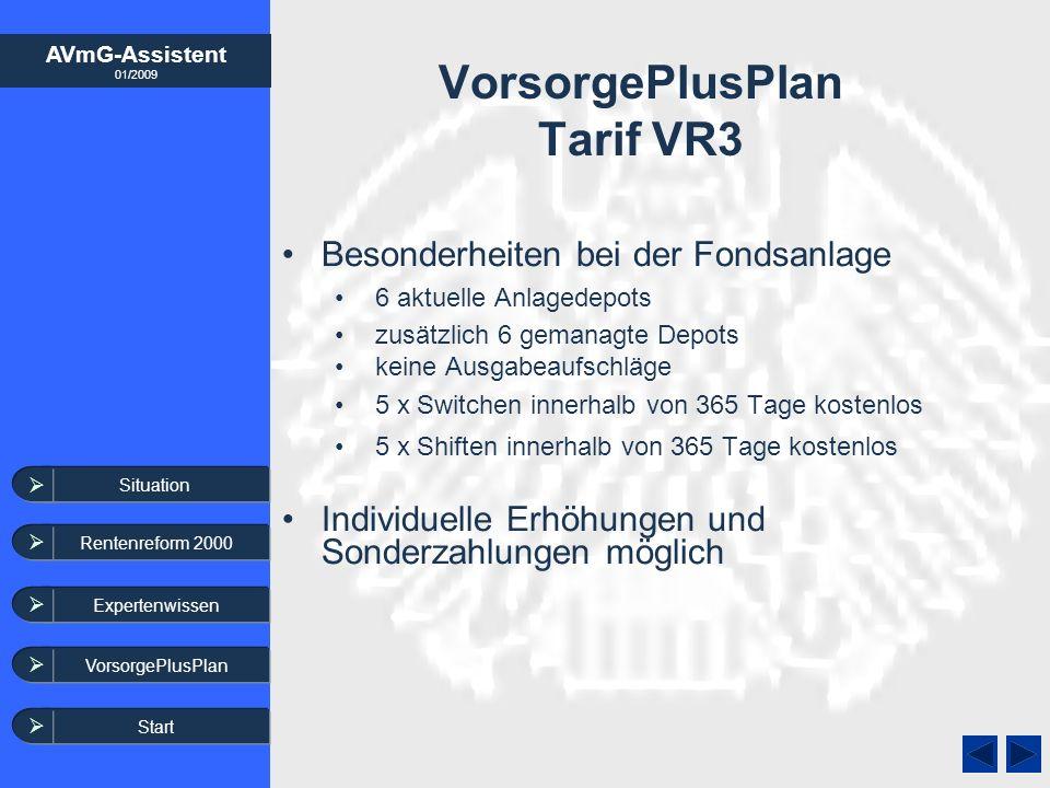 AVmG-Assistent 01/2009 Expertenwissen VorsorgePlusPlan VorsorgePlusPlan Tarif VR3 Besonderheiten bei der Fondsanlage 6 aktuelle Anlagedepots zusätzlic